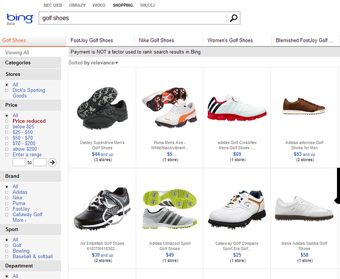 Bing Comparison Shopping Engine Shoes
