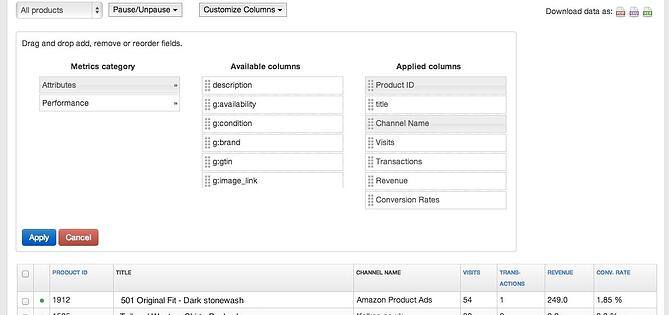 Customize Columns in DataFeedWatch Analytics