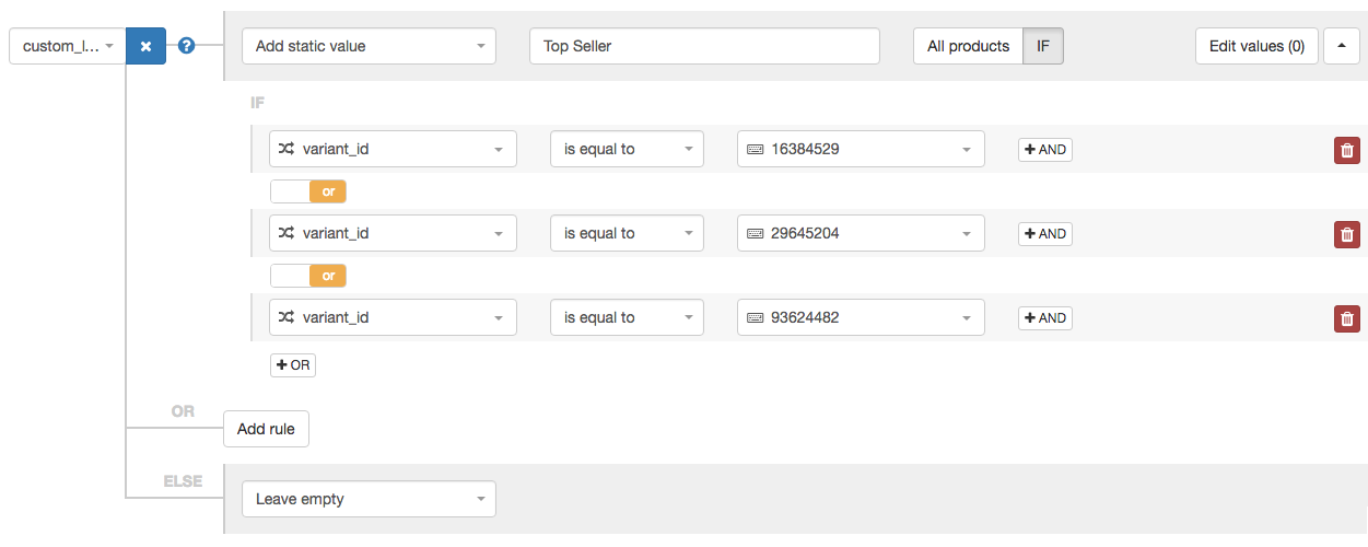 Custom Label for Top Seller and Individual ID in DataFeedWatch 3.0
