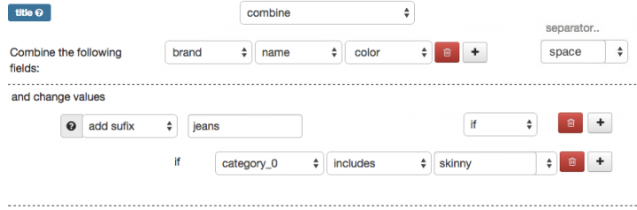 Combine Brand Name, Color and Add Suffix in DataFeedWatch