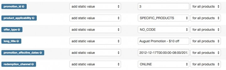 Google Shopping Promotions Feed Map Fields in DataFeedWatch