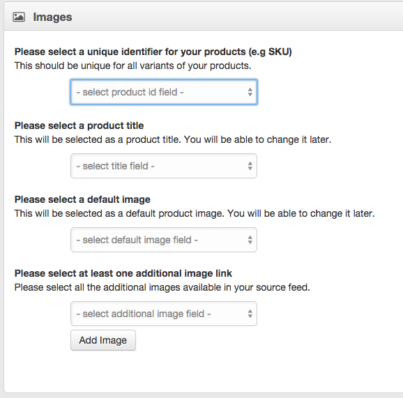 Default Image Selector CSV and XML