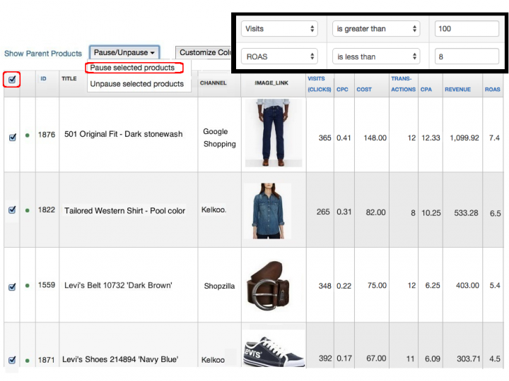 Remove Unprofitables with Cost Data Filter in DataFeedWatch Analytics