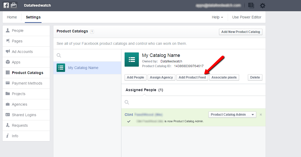 Facebook Dynamic Product Ad Admin Panel