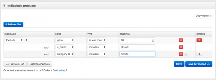 Filter Products with Multiple Conditions in your Data Feed