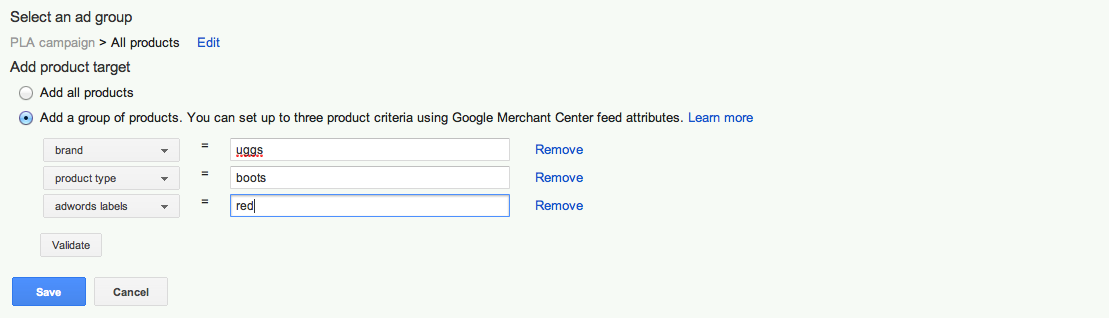 Using Google AdWords Labels for Red Boots