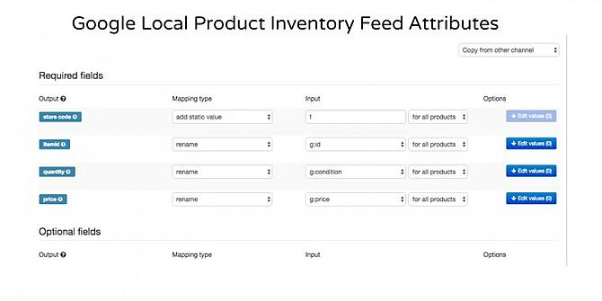 Google Local Product Inventory Feed Attributes