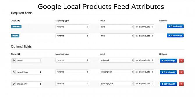 Google Local Products Feed Attributes