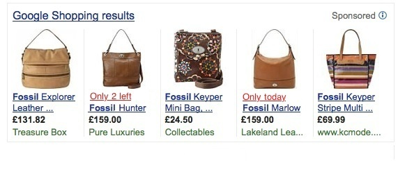 Google Product Listing Ad Fossil Bag 'Only 2 Left'
