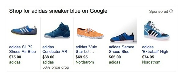 Google SERP PLA Blue Adidas Shoe with the Wrong Color