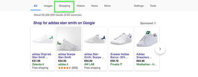 Google Shopping Menu