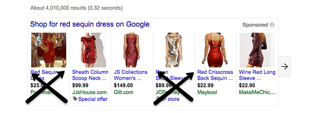 Magento Google Shopping Data Feed Red Sequin Dress