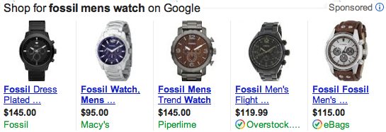 Google Product Listing Ad Fossil Watch