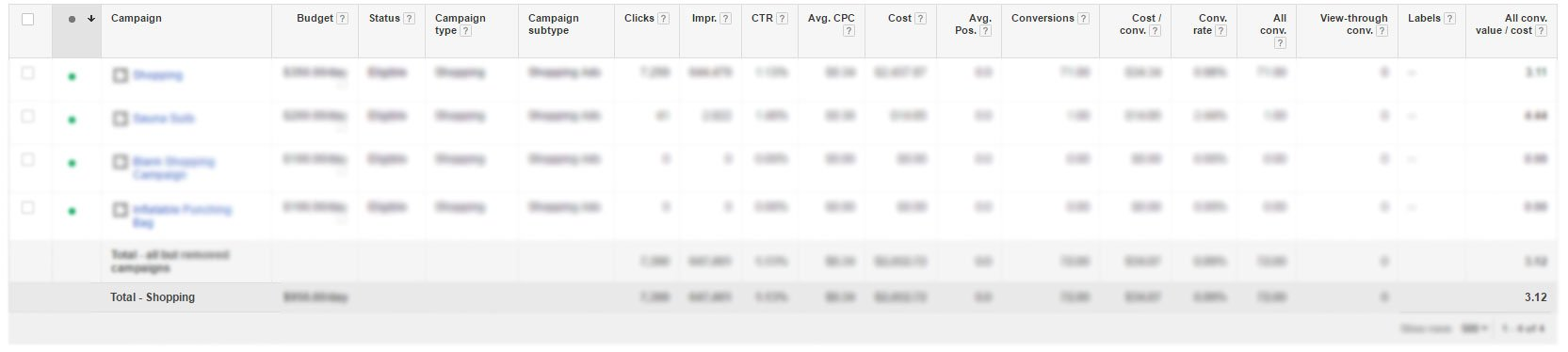 Google Shopping ROI Snapshot After