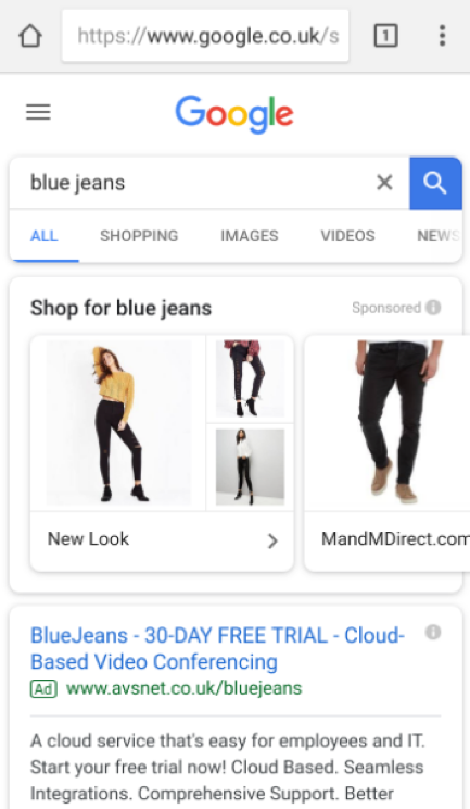 Google Showcase Shopping Ads Example
