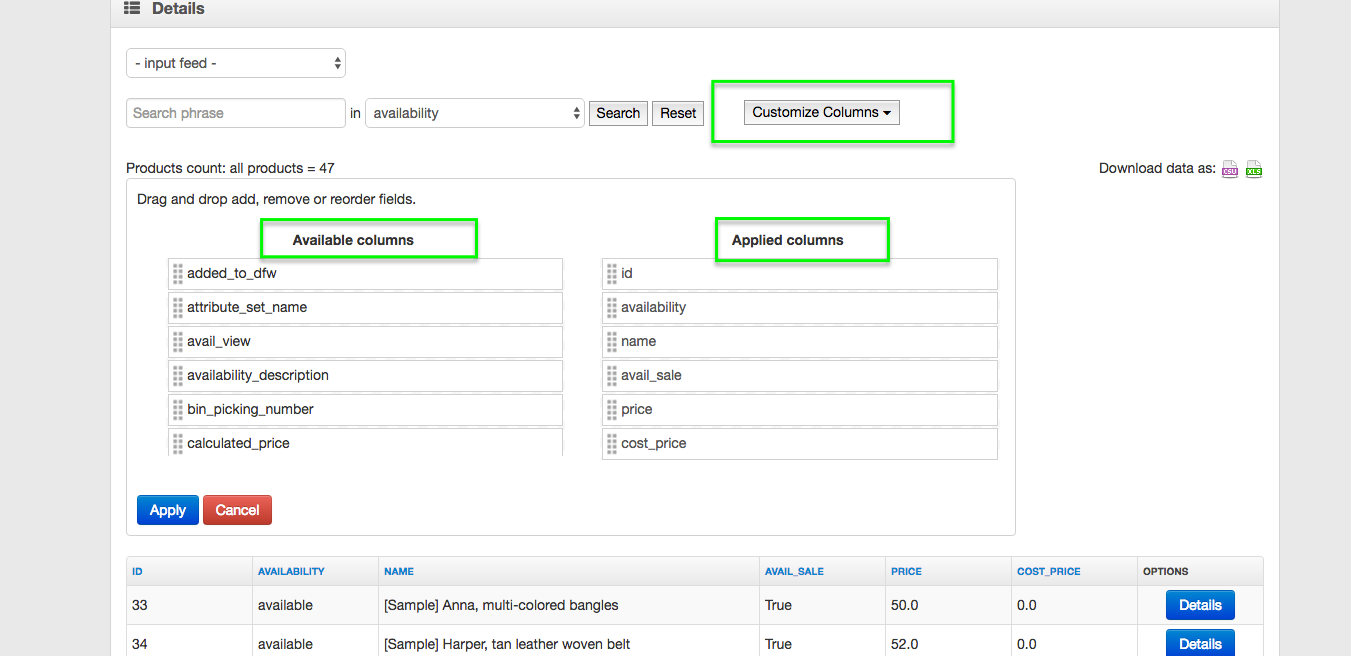 View Products in Source Feed and Customize Columns